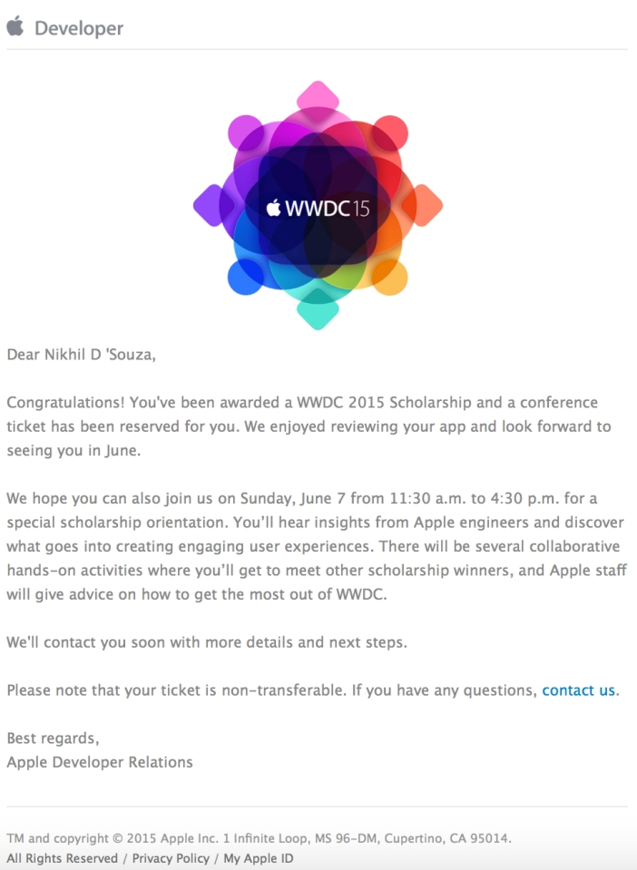 WWDC 15 Acceptance Full